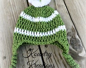 Baby Hat, Baby Crochet Hat, Newborn Crochet Hat In Green and White with PomPom, Hat with Earflaps (Ready to Ship)