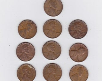 lot of 10 assorted Lincoln wheat pennies 1910 to 1939