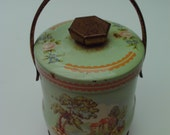 Rustic Vintage Murray Allen Tin with Handle and Pastoral Image Mint Green