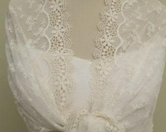 Lace Bridal Shawl, Ivory Lace Cover Up, Lace Wedding Wraps, Wedding Lace Shrug, Bridal Cover Ups, Bridal Ivory Wraps, Lace Floral Wraps