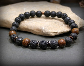 Mens Beaded Bracelet, Black Bracelet, Lava Rock Bracelet, Mens Jewelry, Stretch Bracelet, Native American, Rustic Bracelet, Bracelet for Men