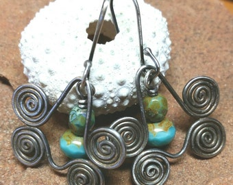 Turquoise and Sterling Silver Spiral Earrings -Unique Shape - Blue Aqua Czech Glass