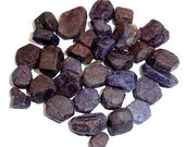 1 Sapphire- raw rough unheated blue corundum chips and chunks - Africa - violet mineral specimen B-748