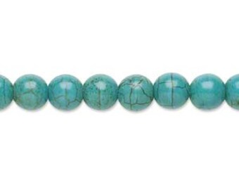 turquoise Magnesite beads clearance sale - blue stone stabilized round sphere 7 mm - full strand coyoterainbow stone dyed teal small bead