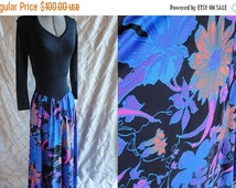 ON SALE 70s Maxi Dress // Vintage 1970s Spandex Bodysuit Floral Maxi Dress Size M  dance dress