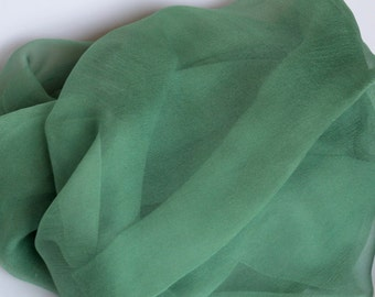 Forest Green Silk Chiffon Gauze - Perfect Accessory - Low Shipping Costs