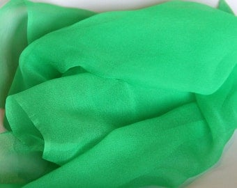 Bright Green Silk Chiffon Gauze - Perfect Accessory - Photo Prop - Great for Felting - Low Shipping Costs