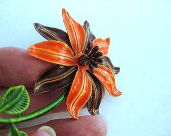 Gorgeous Vintage Tiger Lily Enamel Metal Pin/Brooch