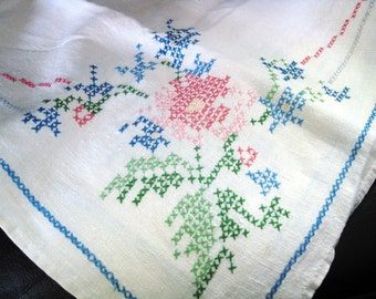Vintage Embroidered Tablecloth With Cross Stitch Floral Design In Each Corner