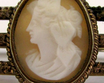 Victorian Cameo Bar Pin Brooch Gold Filled  And Brass Antique Authentic Carved Cameo Shell