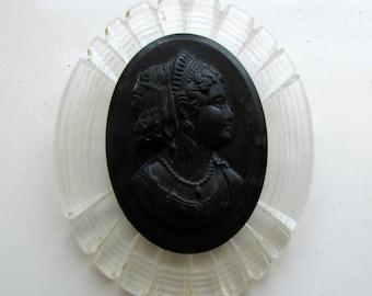 Vintage Bakelite Victorian Cameo Brooch Black Oval Large on Carved Lucite