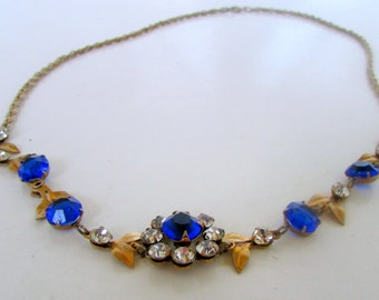 Vintage Midnight Blue and Gold Leaf Necklace Upcycled to Lengthen Gorgeous