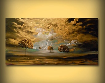 contemporary large landscape surreal cloud art original painting acrylic abstract tree art wall art wall decor wall hanging 48""
