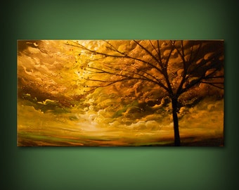 Original acrylic painting – sunset sunrise, sun sky cloud painting wall art living room décor metallic gold clouds warm tones fall colors