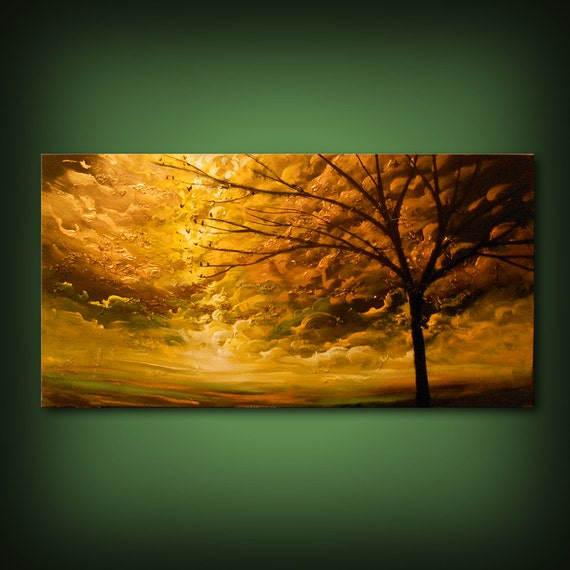 Original acrylic painting – sunset sunrise, sun sky cloud painting wall art living room décor metallic gold clouds warm tones fall colors