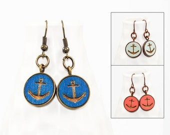 Anchor Dangle Earrings - Laser Engraved Wood (Choose Your Color)