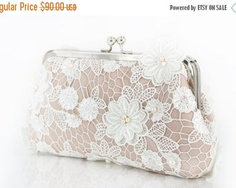 25% off Sale Ivory Bridal Lace Clutch with Freshwater Pearls in Ivory and Champagne 8-inch JARDIN2(Ready to ship)