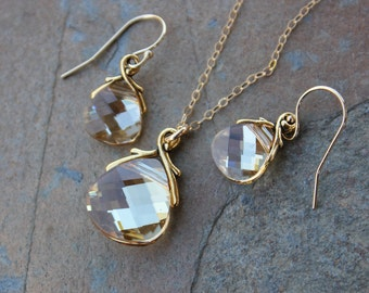 Champagne and Gold Necklace & Earring Set- clear, yellow, and gold color changing Swarovski crystal briolettes- free ship USA