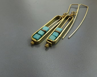 brass frame with turquoise cubes earrings