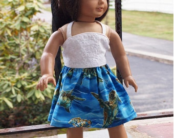"18"" Doll Clothes -    Girl Doll Clothes - Turtle Theme Outfit - Summer Skirt Outfit"