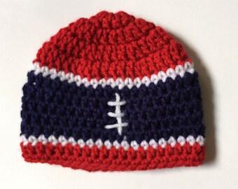 Patriots Baby Hat Hand Crocheted Football
