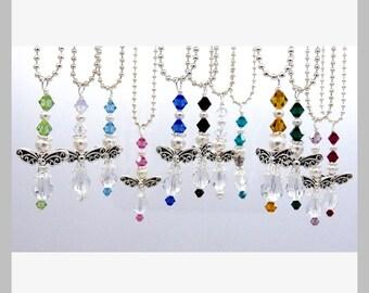 Birthstone Angel Car Charms - Guardian Angel Charm/Rear View Mirror Charm/Car Vent Charm - Swarovski Crystals and Pearls Angel