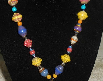 Paper Bead Dragonfly Necklace