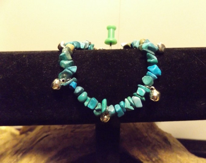 Turquoise and bells Healing Bracelet, Healing Crystal and Stones Jewelry, Spiritual Healing Jewelry, Tribal Jewelry,Native American inspired