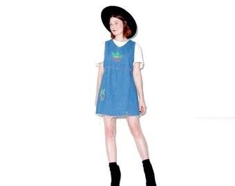 HURRY HALF OFF Denim Overall Dress xs small medium / jumper dress jean dress denim dress 90s dress 90s grunge ripped jeans raw hem mini dres