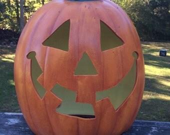 Ceramic Happy Face Tall and Slim JACK o LANTERN Pumpkin Light Up Lamp