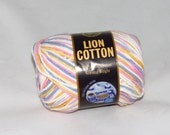 Lion Cotton Variegated Yarn, Candy Colors Worsted Weight Cotton Yarn, Destash, Discontinued, Easter Colors