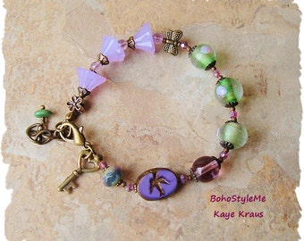 Boho Chic Bracelet, Modern Hippie, Bohemian Jewelry, Colorful Flower Beaded Bracelet, BohoStyleMe, Kaye Kraus