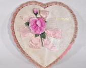 "Vintage Large 15"" Pink Satin Covered Pangburn's Chocolate Box"