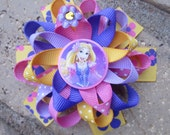 Rapunzel Inspired Custom Boutique 3 Layer Loopy Flower Boutique Hair Bow for Disney Vacation or Princess Birthday Party