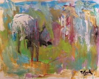 Abstract Landscape Painting, blue, green, expressionist modern art, Russ Potak