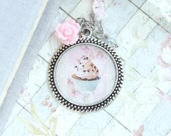 Dessert Necklace Cupcake Necklace Food Necklace Cupcake Gift Shabby Chic Necklace Cupcake Jewelry