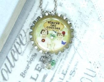 Best Friend Gift Friendship Necklace Bottle Cap Necklace Best Friend Necklace BFF Gift Best Friend Jewelry