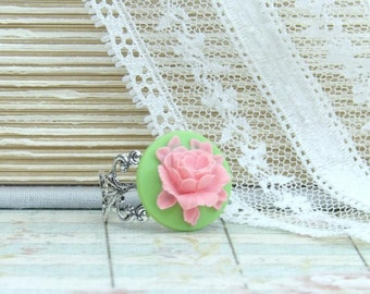 Pink Rose Ring Cameo Ring Pink And Green Ring Victorian Ring Pink Flower Ring Victorian Jewelry