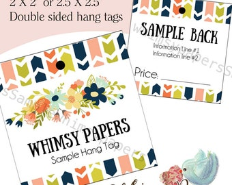 """Custom Boho Clothing Hang Tags - 2X2"""", 2.5 X 2.5"""", Double Sided with holes - free shipping*"""