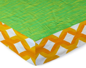 Crib Sheet , Bumper Free , Baby Bedding , Modern Baby Crib Set , Cotton , Bumperless , Unisex ,  Sheet Moss Bark