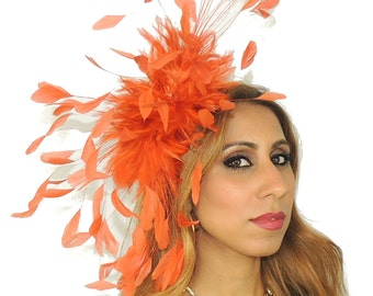 Eagle - Orange Fascinator Hat for Kentucky Derby, Weddings and Christmas Parties on a Headband