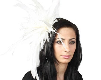Unstripped Ivory Fascinator Hat for Weddings, Races, and Special Events With Headband