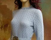 1970s Light Blue Lacy Knit Dress by JANE size S