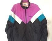 Purple black white Reebok windbreaker jacket S M 90s Sport mens