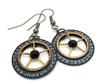 Steampunk ear gear -  Pendulum  - Steampunk Earrings - Repurposed art