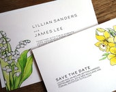 Printable Wedding Invitation & Save the Date Template - LeMayr - Instant Download - Lily of the Valley and Daffodil Wedding Invite Set - PDF