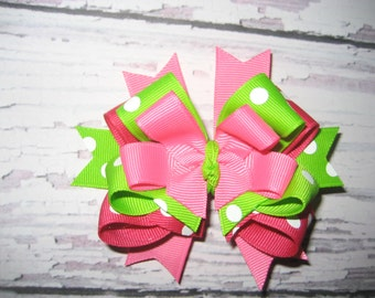hot pink and lime green Hair Bow
