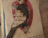 Primitive Blackened Beeswax Fraktur TypE  Love Bird VaLenTiNe Ornament