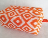 Makeup Travel Case, Zippered Boxed Pouch, Toiletry Case, Cosmetic Travel Case, Woman's Gift Idea, Orange Makeup Case
