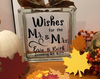 """Wedding Guest Book Wish Jar-Fall in Love-Glass Block with """"Wishes for the Mr. and Mrs.""""-Paper Fall Leaves to Write messages on-Thanksgiving"""